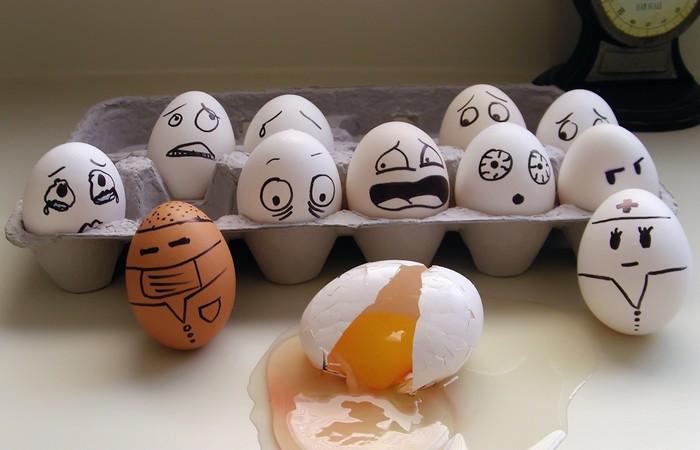 Самое большое количество яиц, разбитых за одну минуту подбородком.