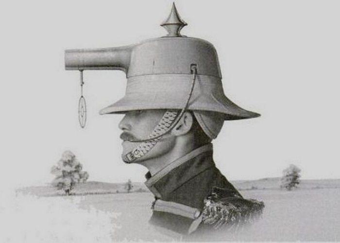 Шлем-пистолет, который мог быть кухонной посудой.