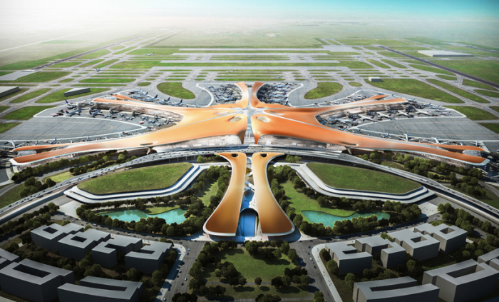 Работы над аэропортом идут полным ходом.