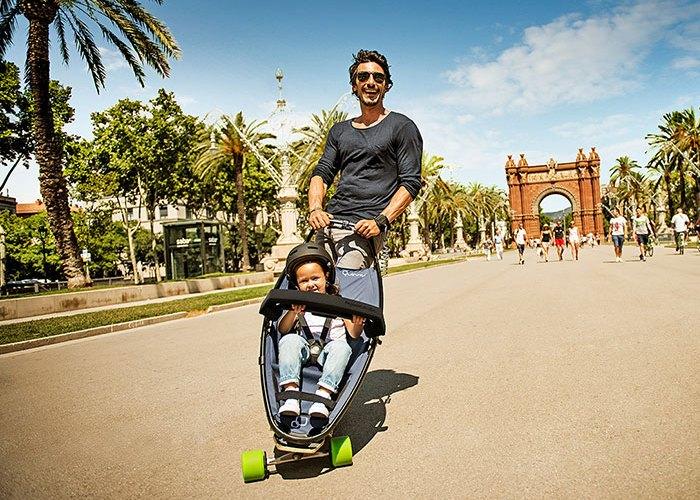 Неожиданно: скейтборд-коляска.
