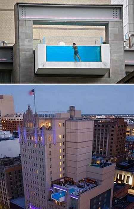 Висячий бассейн в отеле Джоуль.