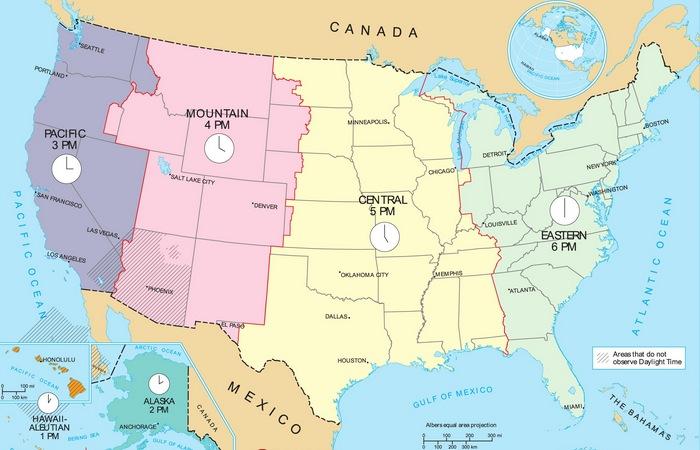 Часовые пояса США.