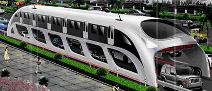 Transit Explore Bus оставляет возможности для движения автомобилей под ним.