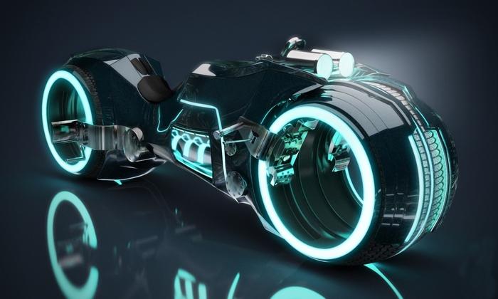 TRON LIGHT CYCLE - футуристический байк из стеклопластика.