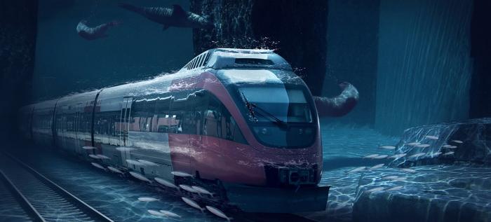 Подводная железная дорога.