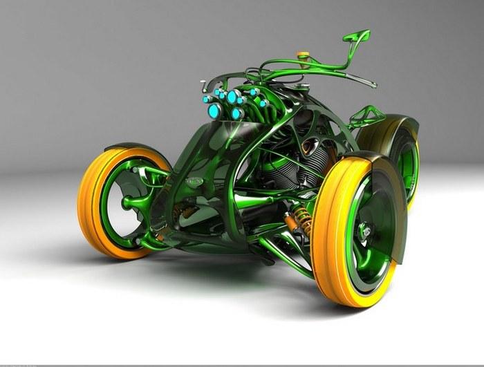 Зелёный победный трицикл.