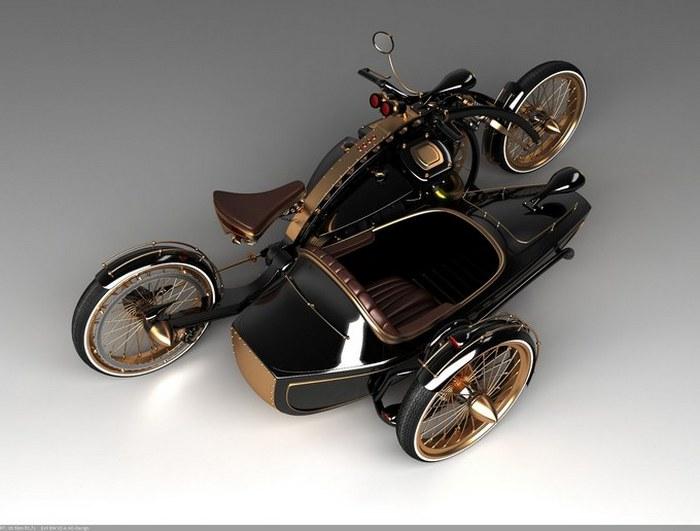 Мотоцикл с коляской в стиле стимпанк.