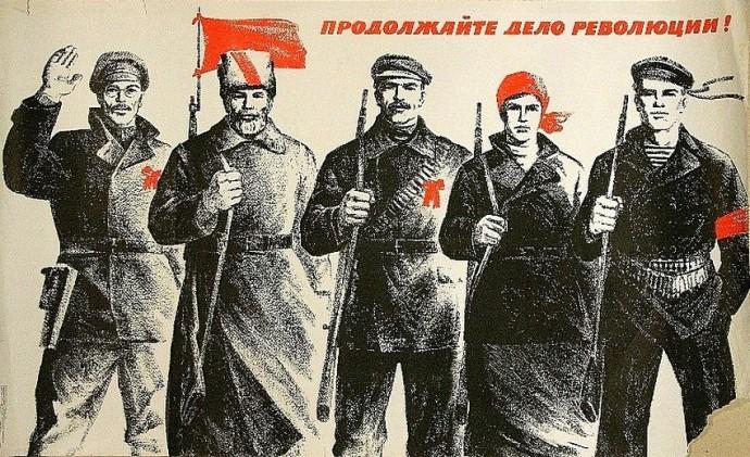 Революционные солдаты в 1917 году стали помечать папахи красной лентой. |Фото: sudak.me.