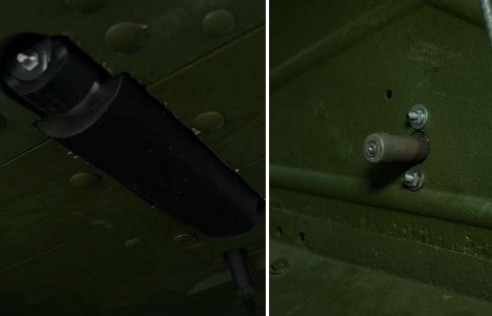 Слева - валик для защиты кузов от ударов гусениц. Справа - кнопка для запуска двигателя, нажималась ногой. |Фото: ya.ru.