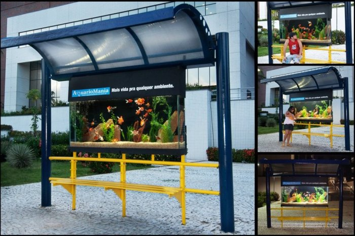 Автобусная остановка с аквариумом.
