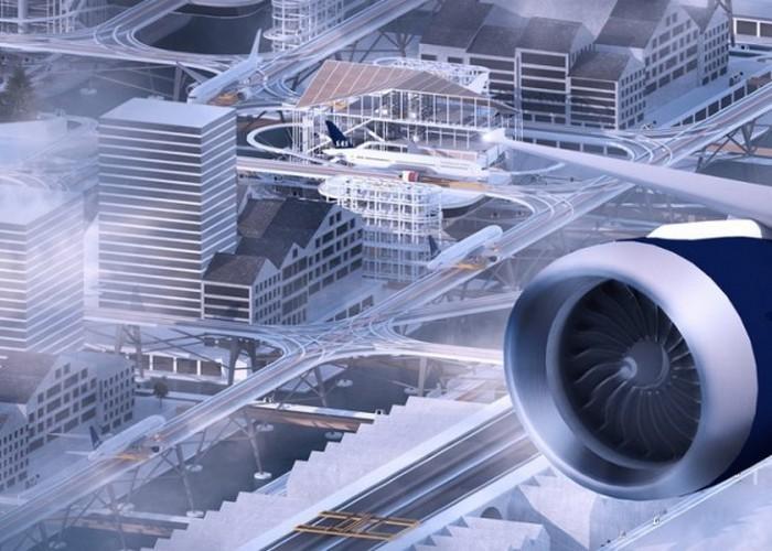Аэропорт над городом.