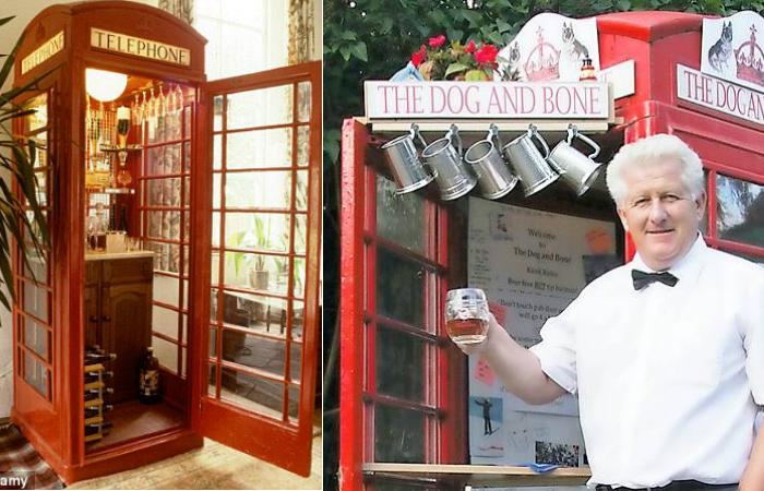 Телефонная будка-бар.
