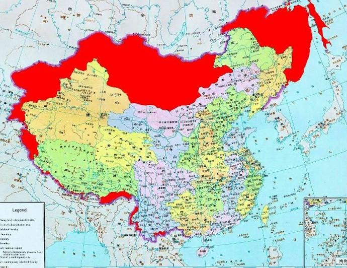 Карта территориальных претензий Китая.