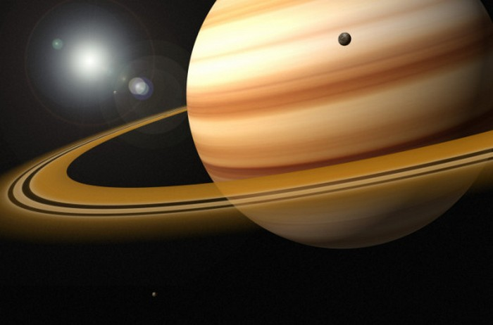 Кольца Сатурна с фото Voyager.