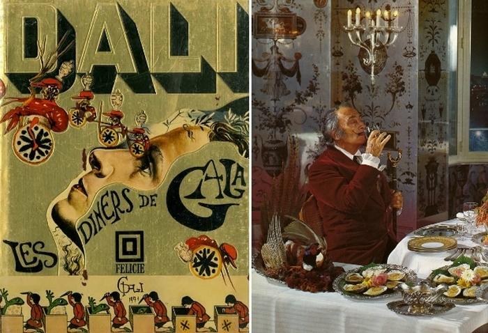Обложка кулинарной книги Les Diners de Gala и её автор Сальвадор Дали.