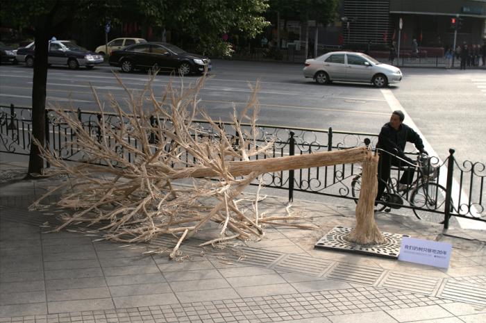 Сломанное дерево из 30 тысяч китайских палочек.