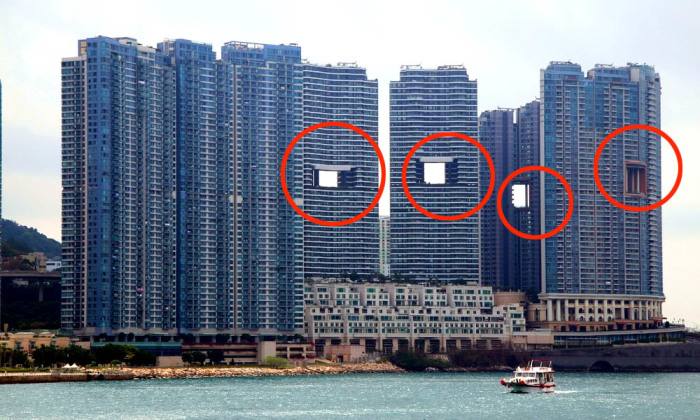 «Дырявые» небоскрёбы, построенные в Гонконге.