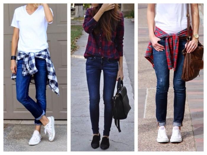 Узкие джинсы и клетчатые рубахи.