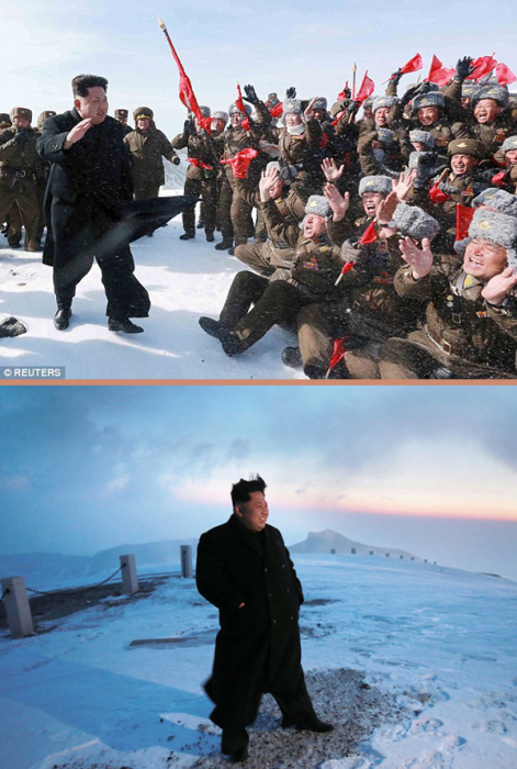Ким Чен Ын на горе Пэкту.