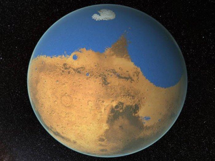 На Марсе были огромные запасы воды.