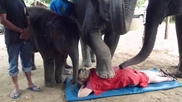 Слоновий массаж.