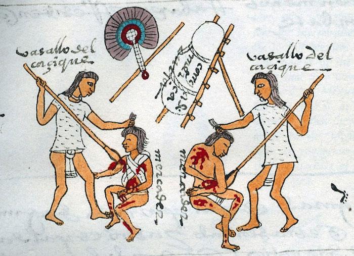 Искусство нанесения ударов. Иллюстрация из Кодекса Мендоса.