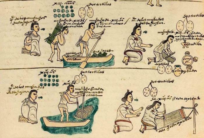 обучение детей доманему труду. Иллюстрация из Кодекса Мендоса.