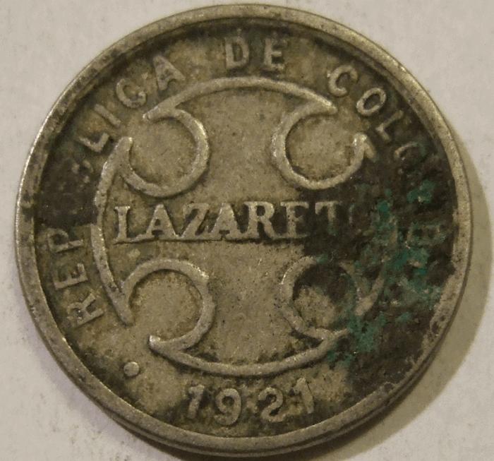 50 сентаво лепрозория (Колумбия, 1921).