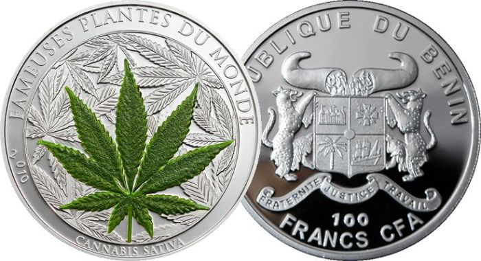100-франковая монета с марихуаной.