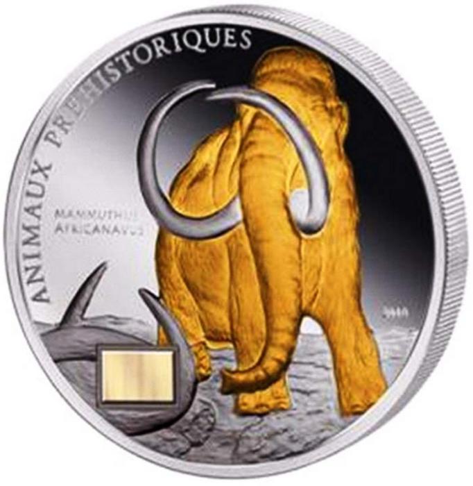 Монета с ископаемыми останками мамонта.