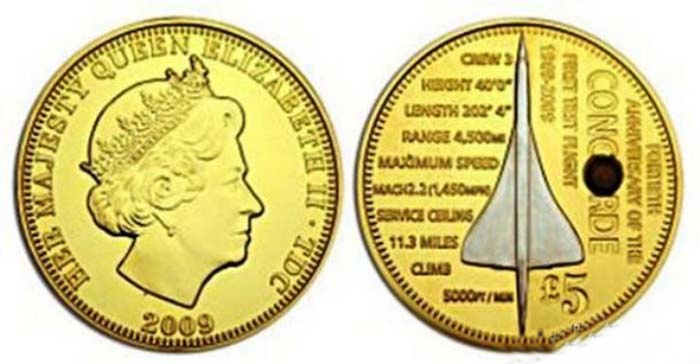 Монета с частичкой теплозащитного экрана Конкорда.
