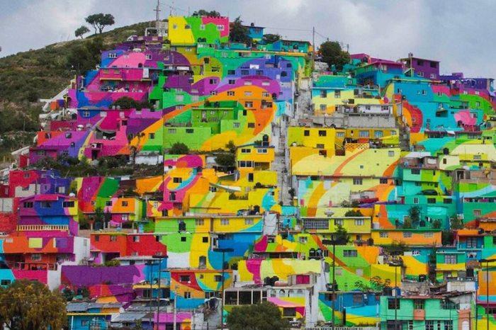 Мексиканские трущобы, превращенные в гигантский мурал