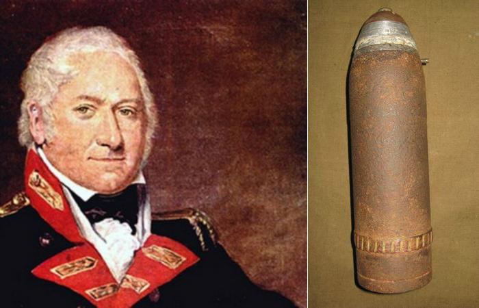 Генерал-майор Генри Шрэпнель и шрапнельный снаряд.