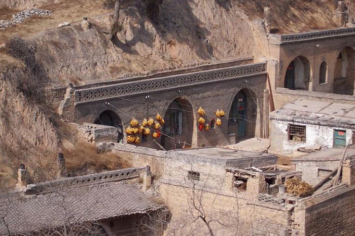 Пещерные дома в провинции Шэньси.
