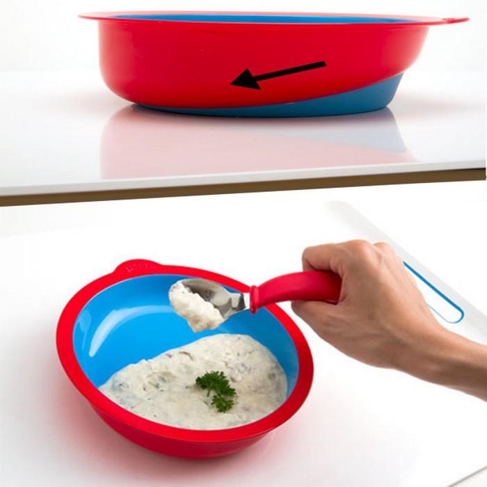 Посуда под правильным наклоном.