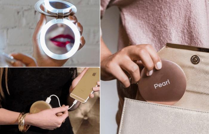 Зеркальце-пауэррбанк Pearl Compact Mirror.