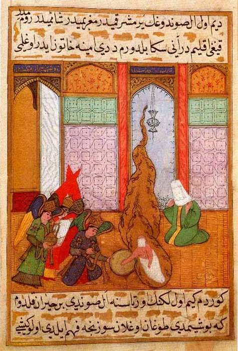 Османская миниатюра, изображающая рождение пророка Мухаммеда. Из коллекции во Дворце Топкапы. Стамбул.
