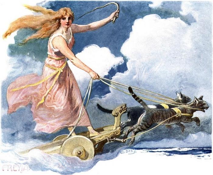 Фрейя на кошачьей колеснице.