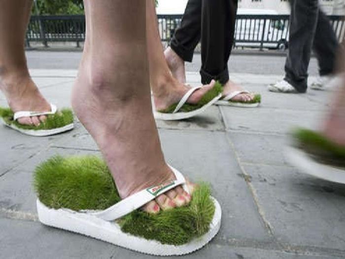 Травяные тапки.