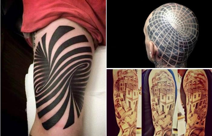 Необычные татуировки, создающие эффектные оптические иллюзии.