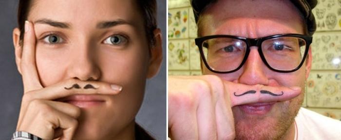 Татуировка усы.