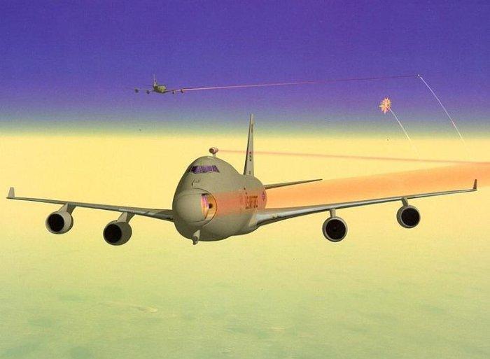 Yal-1 Airborne Laser (лазерные лучи выделены красным цветом для наглядности).