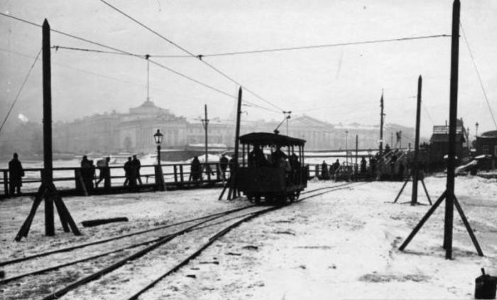 Ледовый трамвай - самый популярный питерский транспорт конца 19-го века.