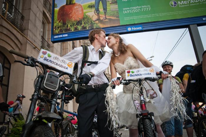 Свадьба на велосипедах.