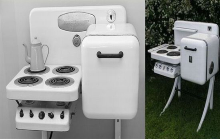 Компактный холодильник-плита.
