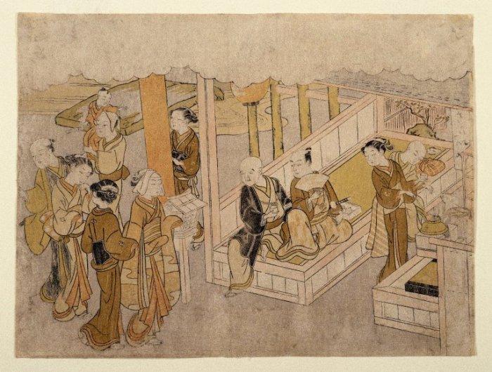 Обряд сватовства на древней японской гравюре.