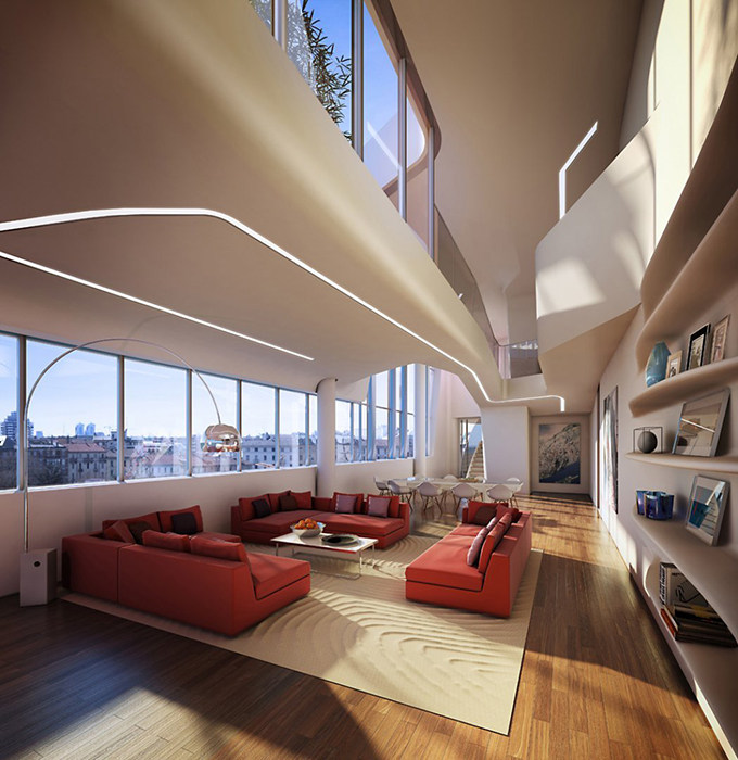 Многофункциональный комплекс City Life в Милане: интерьер помещения