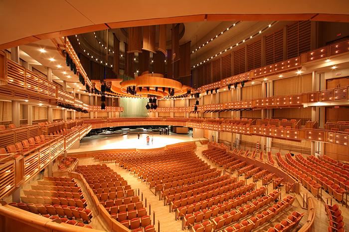 Walt Disney Concert Hall em Los Angeles: o interior do salão