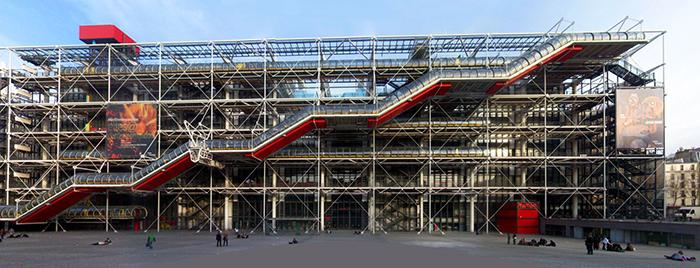 Национальный центр искусства и культуры имени Жоржа Помпиду в Париже, Франция: главный фасад