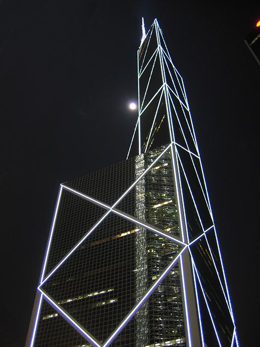 Небоскреб Банк Китая ночью